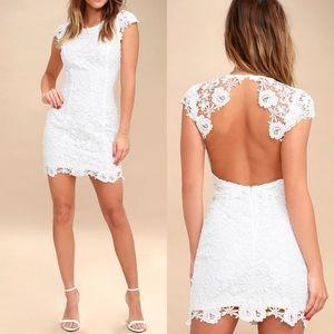 Lulus Romance Language White Backless Lace Dress